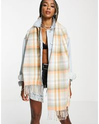 TOPSHOP Recycled Pastel Check Scarf - Multicolour