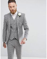 ASOS Wedding Super Skinny Suit Jacket In Grey Houndstooth - Gray