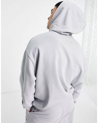 ASOS Co-ord Oversized Hoodie With Piping And Logo Badging - Grey