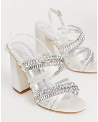aa846311bcb Honeymoon Embellished Block Heeled Sandals In Ivory - White