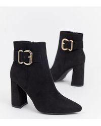 New Look - Buckle Detail Heeled Boot In Black - Lyst