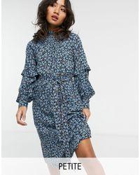Vero Moda Midi Dress With Shirred Neck And Sleeve Detail - Blue