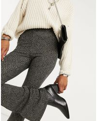 TOPSHOP Ditsy Floral Flared Pants - Black