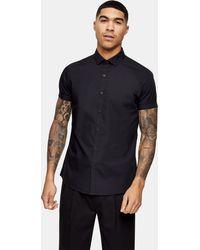 TOPMAN Slim Smart Shirt - Black