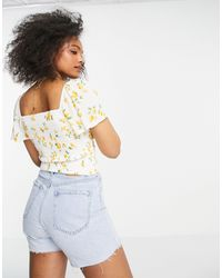 Abercrombie & Fitch Co-ord Flutter Sleeve Top - White
