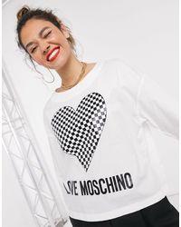 Love Moschino Checkerboard Heart Logo Cropped Top - White