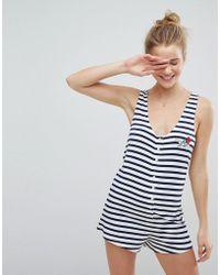ASOS - Embroidered Be Kind Stripe Pyjama Romper - Lyst
