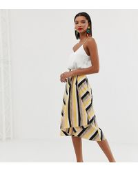 Mango - Asymmetric Hem Midi Skirt In Stripe Print - Lyst