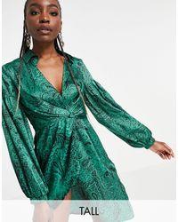 TOPSHOP Shirt Dress With Wrap Waist - Green