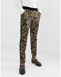 ASOS – Enge Anzughose aus Satin mit Barockmuster - Schwarz