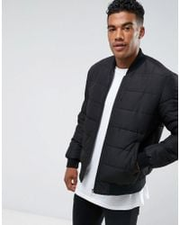 ASOS - Quilted Bomber Jacket In Black - Lyst