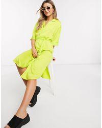 Monki Maggie Satin Midi Shirt Dress - Green