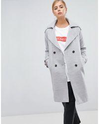 Boohoo - Oversized Wool Look Trench Coat In Grey - Lyst
