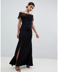 True Decadence - Lace Bardot Maxi Dress In Black - Lyst