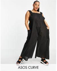 ASOS Asos Design Curve Broderie Trim Jumpsuit - Black