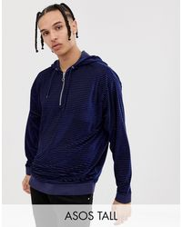 ASOS Tall Oversized Velour Striped Hoodie With Half Zip - Blue