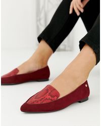 River Island Wide Fit Loafers With Pointed Toe - Red