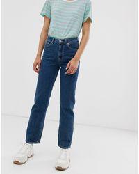 Monki Imko Straight Leg Jeans With Organic Cotton - Blue