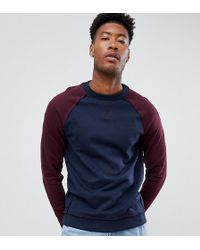 ASOS - Tall Sweatshirt With Contrast Raglan Sleeves And Raw Edge Seam Detail - Lyst