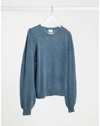 Vila Balloon Sleeve Sweater - Blue