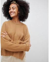 Monki - Ribbed Wide Cuff Jumper In Camel Unique - Lyst