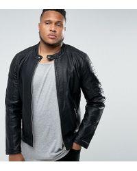 Barneys Originals - Plus Faux Leather Ribbed Biker Jacket - Lyst