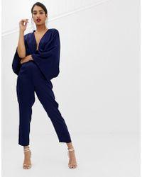 ASOS Drape Kimono Jumpsuit With Ultra Plunge And Peg Leg - Blue
