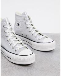 Converse Серебристые Высокие Кроссовки На Платформе Chuck Taylor Lift-серый - Металлик