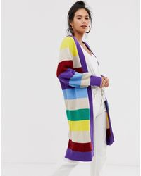 Moon River Cardigan long à rayures - colore - Multicolore