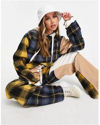 Jaded London – Oversize-Kapuzenpullover im Patchwork-Design mit Saum im Used-Look, Kombiteil - Mehrfarbig
