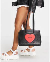 Love Moschino Сумка-тоут Черного Цвета С Большим Логотипом-сердечком -черный Цвет