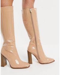 SIMMI Shoes Лакированные Бежевые Высокие Ботинки С Металлической Отделкой Simmi London Melisa-neutral - Естественный