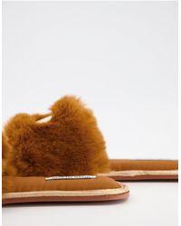 River Island Слиперы Коричневого Цвета С Искусственным Мехом И Логотипом -коричневый Цвет