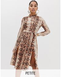Missguided Shirt Dress With Side Splits - Brown
