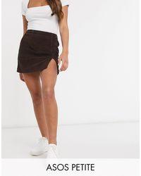 ASOS Asos Design Petite Cord Split Hem Skirt - Brown