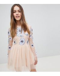 ASOS - Asos Design Petite Pastel Embroidered Tulle Mini Dress - Lyst