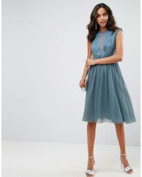 ASOS - Asos Tulle Cap Sleeve Midi Dress In Tonal Lace - Lyst