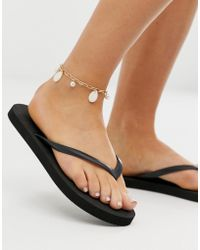 ASOS Anklet With Faux Shell And Freshwater Pearls In Gold Tone - Metallic