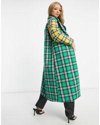 UNIQUE21 Комбинируемое Пальто В Клетку -многоцветный - Зеленый