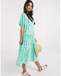 ASOS Vestido midi con frunces en encaje color menta - Verde