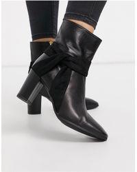 Karen Millen Florence Leather Wrap Detail Block Heeled Boots - Black