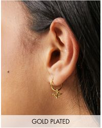 Kingsley Ryan 12mm Dinosaur Hoop Earrings - Metallic