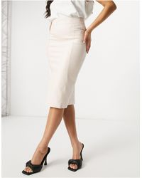 River Island Faux Leather Midi Pencil Skirt - Pink