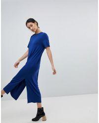 Monki - Side Split Midi T-shirt Dress - Lyst