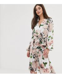 e1a3653c65ad New Look. Flounce London - Satin Wrap Midi Dress In Floral Print - Lyst