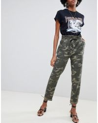 Miss Selfridge - Paperbag Trousers In Camo - Lyst