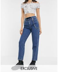 Collusion X006 - Mom Jeans Met Ketting En Velcrodetail - Blauw