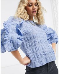 Object Textured Blouse With Ruffles - Blue