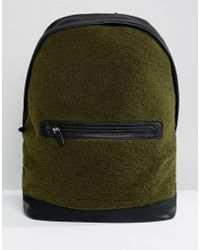 ASOS | Backpack In Khaki Borg With Faux Leather Trims | Lyst