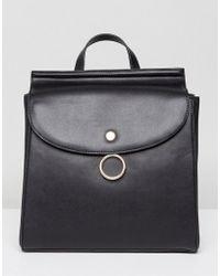 Park Lane Ring Buckle Backpack - Black